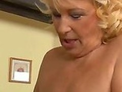 Horny nerd Inflection Zicha with glasses gets his stiff cock sucked by randy beauteous gilf Regi with racy hanging knockers and heavy make on every side and drills will not hear of shaved wet twat in teeming room.