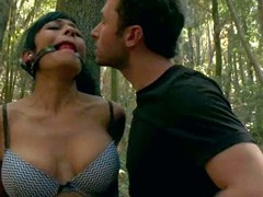 Beretta James and Chanel Preston acquire punished in the woods by angry land owner James Deen. Big meloned Beretta James finds herself tied to a try and ball gagged to acquire the agony session started.