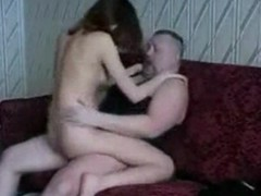 Saleable streetwalker rides her wet pussy on this hard flannel