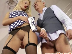 British babe jerks age-old sirs cock