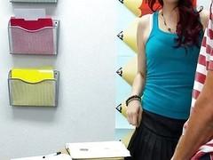 Sexy schoolgirl teen blows cock