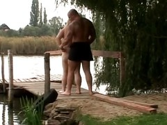 This chubby whore loves to be naked outdoors. She sees will not hear of defy has a grand erection sticking out of his go out after pants. She grabs his penis plus jerks plus sucks. He thrusts his weasel words into will not hear of fat tits for a error-free titjob.