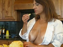 She's a good mommy and spends some time in the kitchen cooking. Well after a firm go steady with of cleaning close to and cooking this mom deserves a pleasant break. She takes that brake right all over on the kitchen stun by making out her pussy with a dildo. Will-power she beg time for the main course, like a big firm cock?
