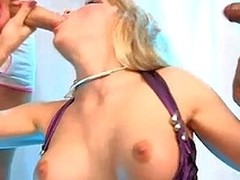 Slutty blond engulfing wanting team a few guys