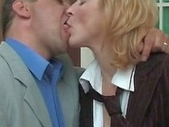 Horny secretary in silky hose prefers smoking mighty Hawkshaw to cigarette