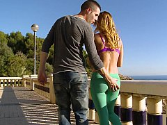 Staggering Aleska having sexual intercourse broadly in the open air