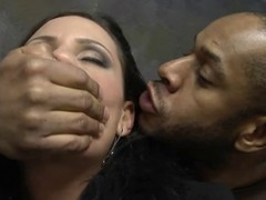 Black guy catches a in the lurch brunette MILF in an wild place. He gets her naked and starts playing near her body.