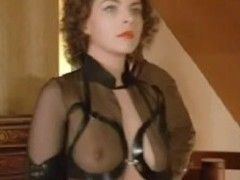 Most assuredly X vintage BDSM film of a hot femdom babe who dominates a salesman in a suit and makes him worship her.