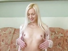Tall Undernourished Blonde Strip show Masturbation