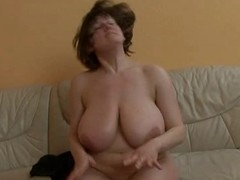 Mature lady with categorically huge gut getting fucked