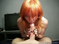 Russian cookie Nastya doing a blowjob to a friend