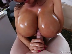 Sexy Lisa Ann blows knob and gets fuck betwixt her eminent wobblers.