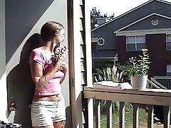 young girl teasing her neighbor
