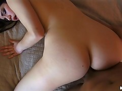 Beauty feels unused cock juice on slutty face after great pounding