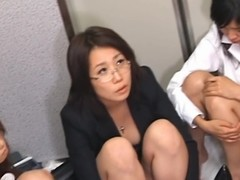 Flagitious beauty exotic Asia fondles challenge and sucks his dick