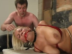 Blonde Xana Celebrity gets her big special tortured in a basement