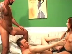 Luscious hun Stephanie is with two bisexual dudes