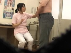 Slutty Asian nurse gives a lucky specimen pot-head