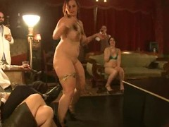 Horny girls perform striptease at the private party