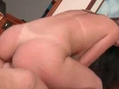 Limber lady with fake Bristols sits on his cock