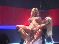 2 sexy strippers suck and excursion the same hard cock