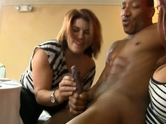 Deadly stripper gets his hard pecker sucked off out of one's mind horny chicks