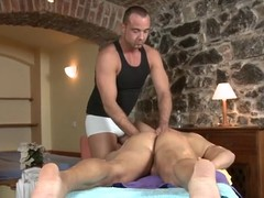 Charming dude is delighting twink in all directions wild blowjobs
