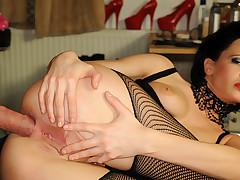 Wicked slut getting a hard wang in her breasty gazoo