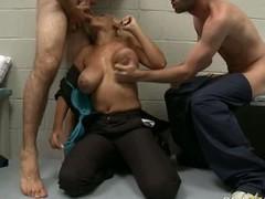 Porn star blonde Bridgette B enjoys sexy blow job with brashness in triune group